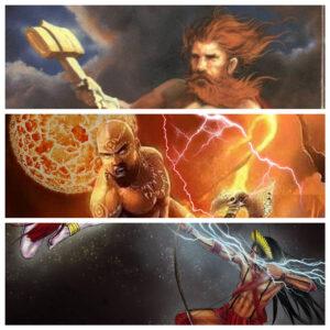 De cima pra baixo, Thor, Xangô e Tupã.