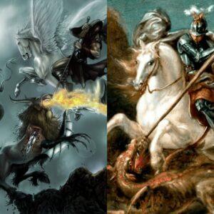 À esquerda, Belerofonte e a Quimera. À direita, São Jorge e o Dragão.