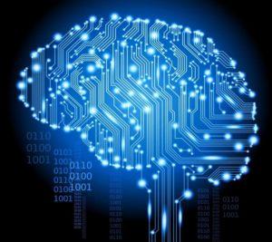 Cerebro formado por conexões tecnologicas azuis