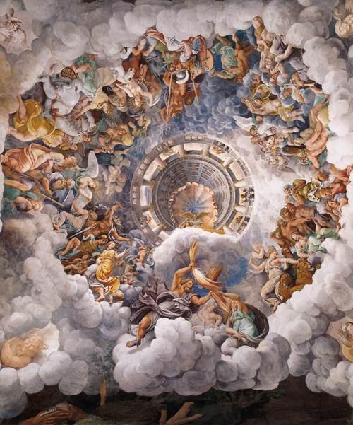 Imagem: Giulio Romano c. 1532–1534 The Assembly of Gods Around Jupiter's Throne Sala dei Giganti.