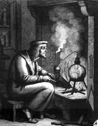 Imagem: o Alquimista Enrique de Villena criando um homúnculo.